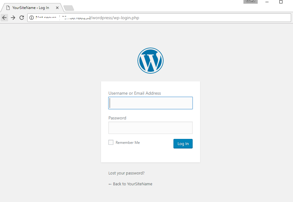 wordpress-on-cloud-login-window